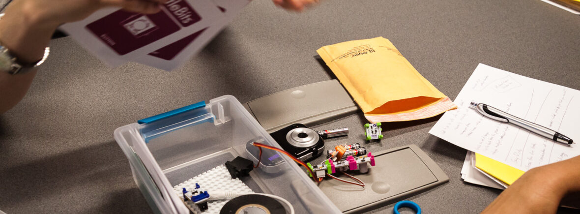 Image of users beginning to assemble a Makers by Mail kit